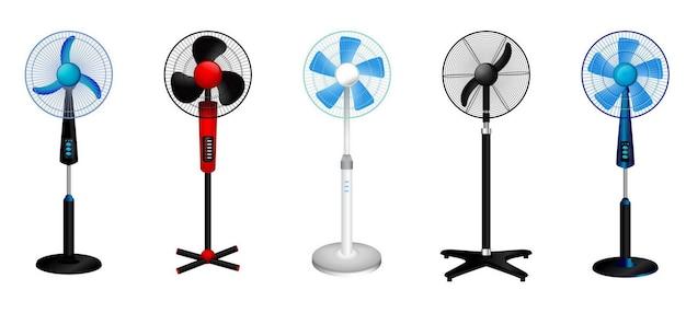 Satz realistischer elektrischer ventilatoren, die mit verschiedenen farben isoliert sind