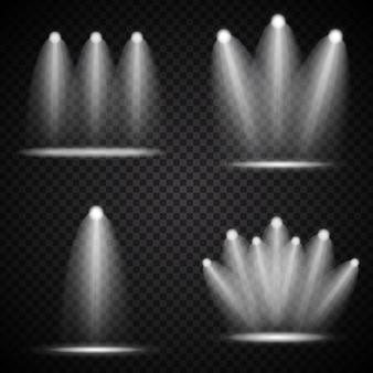 Satz realistischer heller projektoren, die lampensammlung mit strahlern-lichteffekten mit transparenz auf transparentem hintergrund beleuchten. vektorillustration