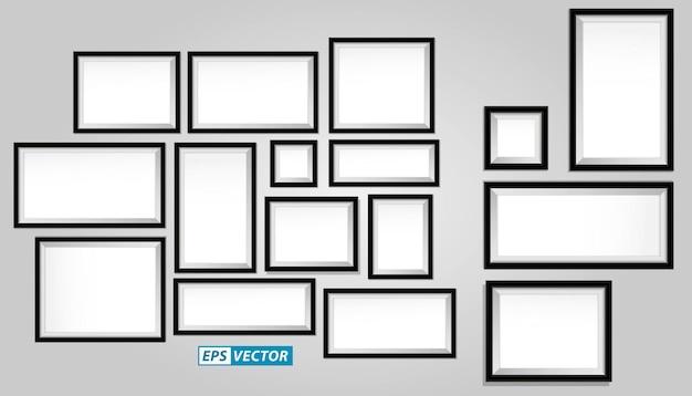 Satz realistischer holzrahmen oder leere bilderrahmen-vorlage oder mock-up leerer fotorahmen brauner text