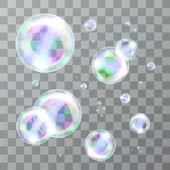 Satz realistischer isolierter seifenblasen zur dekoration und abdeckung auf dem transparenten hintergrund.