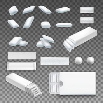 Satz realistischer kaugummi der verschiedenen form in der weißen farbe auf transparentem lokalisiert