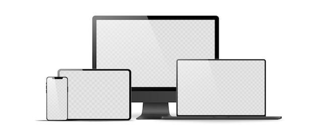 Satz realistischer monitor, laptop, tablet, telefon auf einem weißen hintergrund