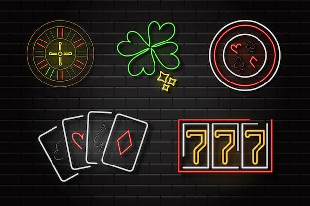 Satz realistischer neon-retro-zeichen des kasinos auf dem wandhintergrund für dekoration und abdeckung.