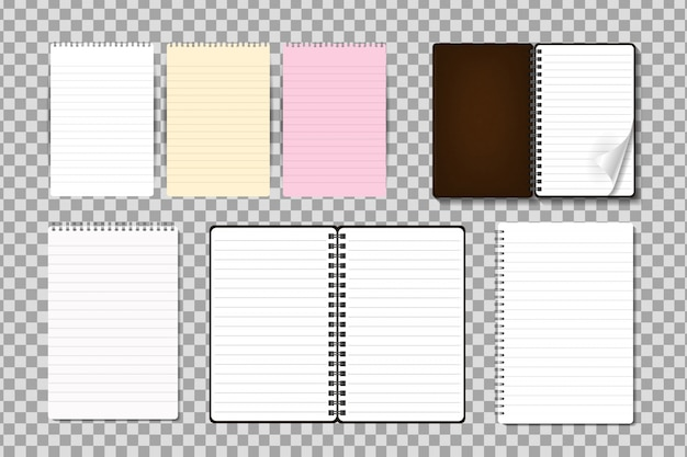 Satz realistischer notizblock auf dem transparenten hintergrund. realistische papiermodellvorlage für covering, branding, corporate identity und werbung.