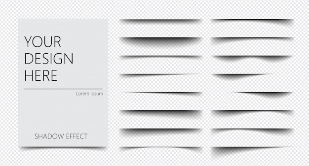 Satz realistischer schatteneffekte auf einem transparenten hintergrund verschiedene formen, seitentrennung