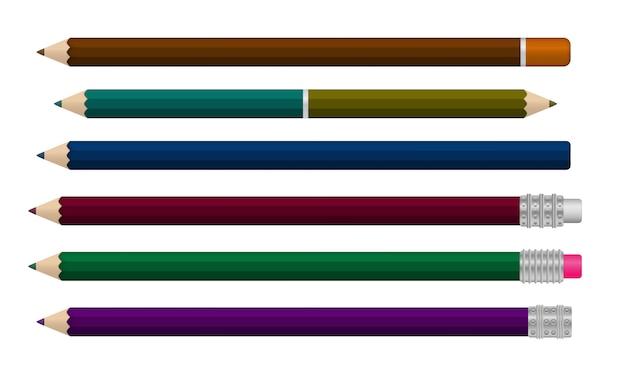 Satz realistischer schreibstift lokalisiert auf einem weißen hintergrund. 3d farbiges schulbriefpapier. vorlage von realistischen mehrfarbigen kunststoffstiften in verschiedenen winkeln. illustration