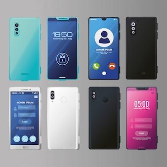 Satz realistischer smartphones modell mit sicherheits-app und anrufbildschirm