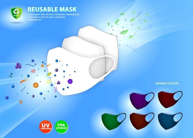 Satz realistischer stoffgesichtsmaskenillustration oder waschbarer maskenbaumwolleps-vektor