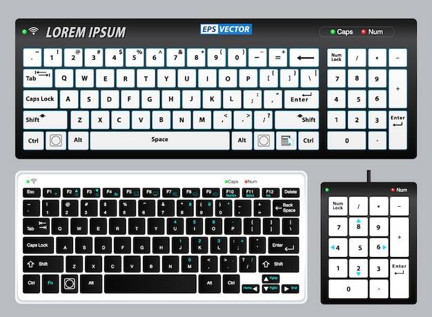 Satz realistischer tastatur-pc oder tastatur-pad-notizbuch oder realistische tastatur mit alphabet-konzept