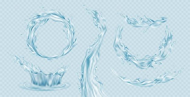 Satz realistischer transparenter wasserspritzer, wasserkrone, wellen, tropfen einzeln auf hellblauem transparentem hintergrund. vektorillustration eps10