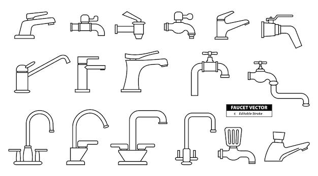Satz realistischer wasserhahnsymbole mit bearbeitbarem strich zum ändern oder wasserhahnsymbolzeichen badezimmersymbol