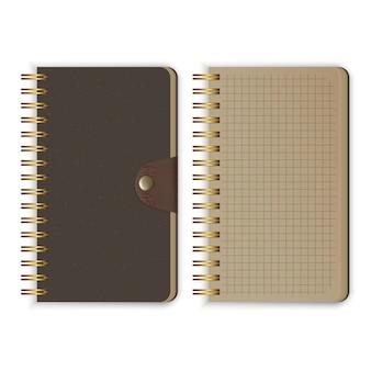 Satz realistisches notizbuch. leere, offene und geschlossene notizbücher mit spiralbinder