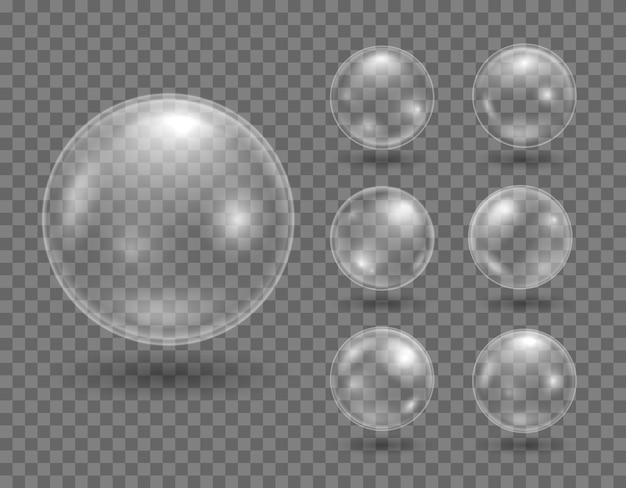 Satz realistisches seifenblasen-design