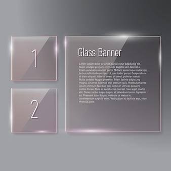 Satz reflektierende quadratische glasfahnen auf gradientenhintergrund
