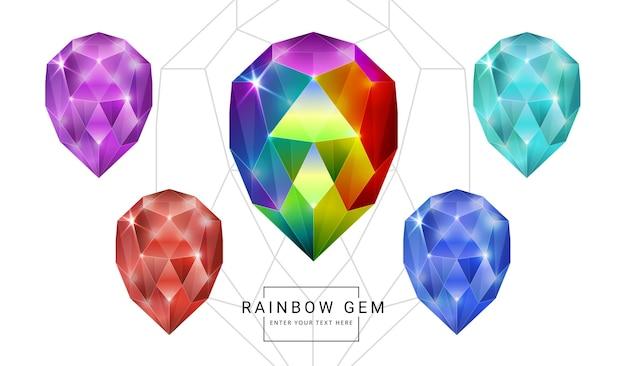 Satz regenbogenfarbphantasieschmuckedelsteine, ovaler ei-polygonformstein für spiel.