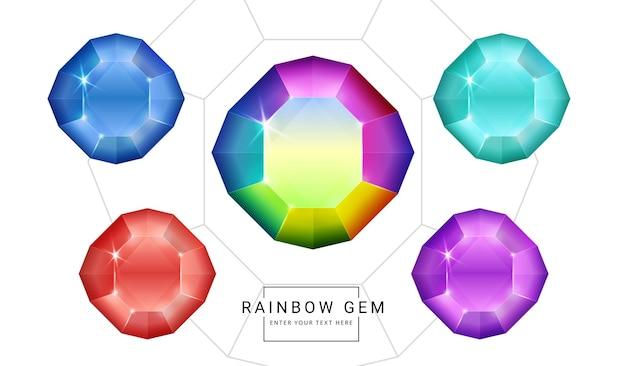 Satz regenbogenfarbphantasieschmuckedelsteine, polygonformstein für spiel.