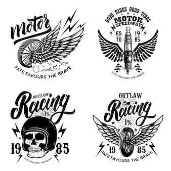 Satz rennfahrer-emblemschablonen mit motorradmotor, rädern. flügel.