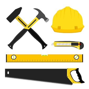 Satz reparaturwerkzeuge. arbeiter-kit in flachen stil