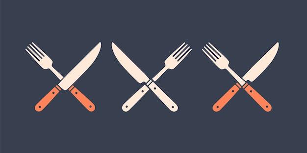 Satz restaurantmesser, gabel. silhouette zwei restaurantwerkzeuge, messer, gabel