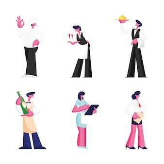 Satz restaurantpersonal lokalisiert auf weißem hintergrund. karikatur flache illustration