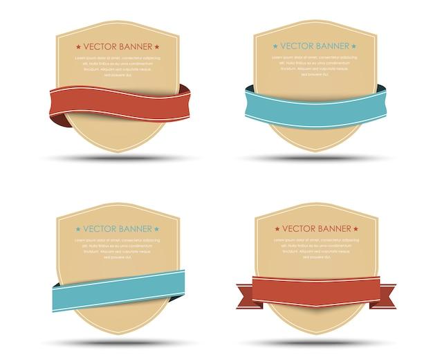 Satz retro-banner und bänder der verschiedenen formen