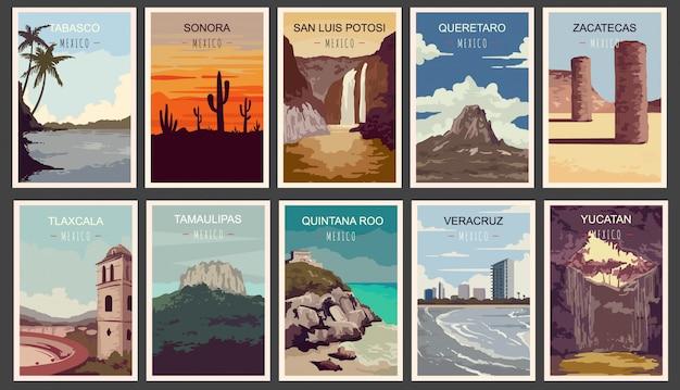 Satz retro-plakate. staaten von mexiko illustration.