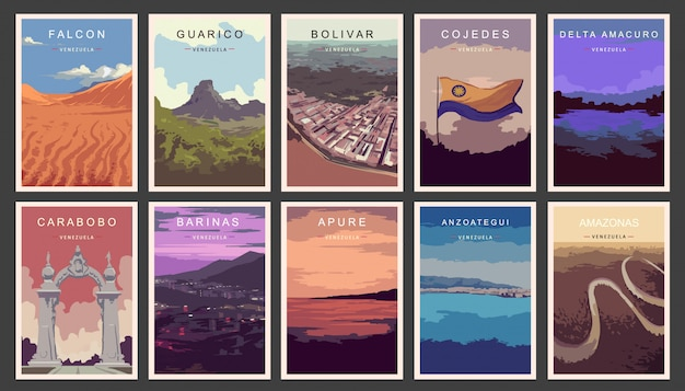 Satz retro-plakate. staaten von venezuela illustration.