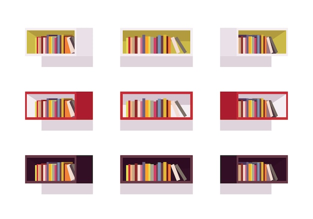 Satz retro- rechteckbücherregale