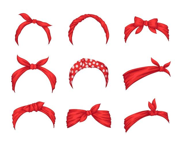 Satz retro-stirnbänder für frau