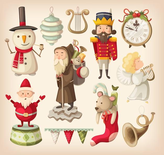 Satz retro-weihnachtsspielzeug für kinder