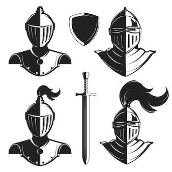 Satz ritterhelme lokalisiert auf weißem hintergrund. ritterschwert und schild. gestaltungselemente für logo, etikett, emblem, schild, abzeichen, markenzeichen.