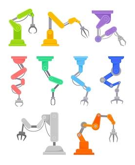 Satz roboterhände lokalisiert auf weiß