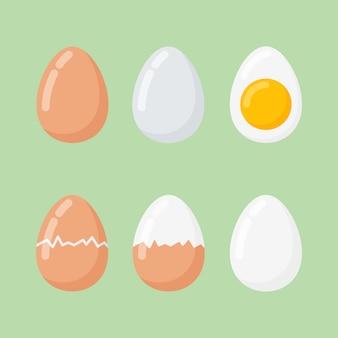 Satz rohe und gekochte eier im flachen stil.