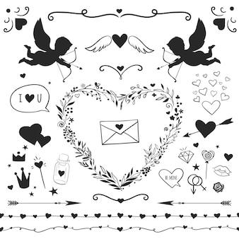 Satz romantische elemente für den valentinstag, dekorative vektorelemente lokalisiert auf weiß