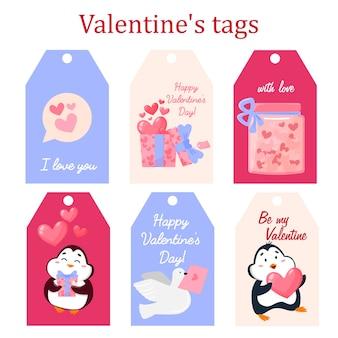 Satz romantische geschenkbox-tag-einkaufsetiketten, banner, kartendesign für valentinstagdesign. hand gezeichnete illustration