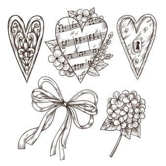 Satz romantische handgezeichnete elemente im vintage-stil.