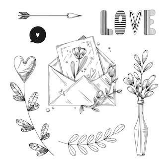 Satz romantische handgezeichnete elemente. verschiedene herzen, blumen und andere verschiedene elemente. handgezeichnete skizzenillustration.