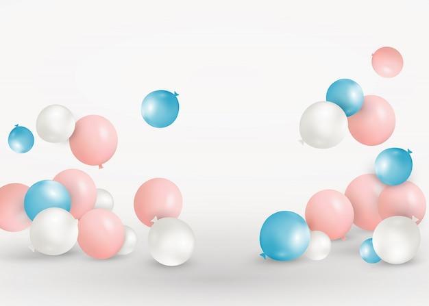 Satz rosa, blaue, weiße luftballons, die auf dem boden fliegen. feiern sie einen geburtstag, poster, banner alles gute zum jubiläum. realistische dekorative gestaltungselemente. festlicher pastellrosa hintergrund mit heliumballons
