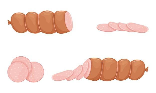 Satz rosa gekochte wurstprodukte