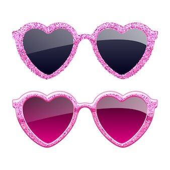 Satz rosa glitzerherz-sonnenbrillenikonen. mode brillen accessoires.