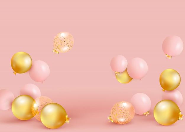 Satz rosa, goldene luftballons, die auf dem boden fliegen. feiern sie einen geburtstag, poster, banner alles gute zum jubiläum. realistische dekorative gestaltungselemente. festlicher pastellrosa hintergrund mit heliumballons.