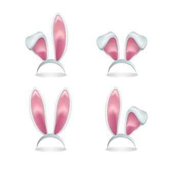 Satz rosa hasenohren lokalisiert auf weißem hintergrund.