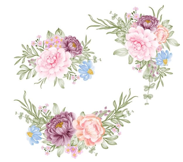 Satz rosa lila blumenanordnung aquarellillustration