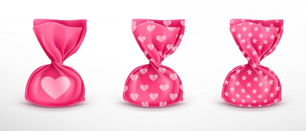 Satz rosa süßigkeitsverpackung mit mustern