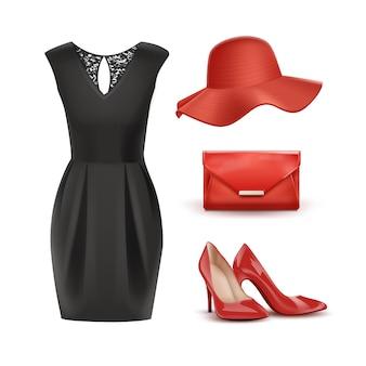 Satz rote accessoires und schwarzes kleid