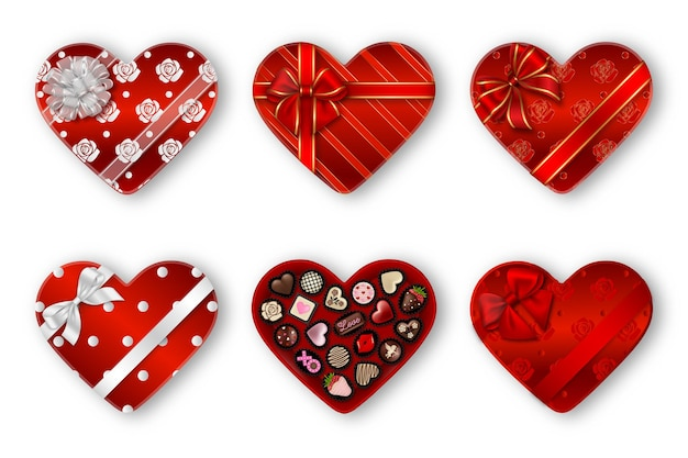 Satz rote herzförmige schokoladenkästen. valentinstag geschenkboxen mit pralinen