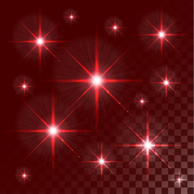 Satz rote leuchtende lichteffektsterne des vektors birst auf transparentem hintergrund. abstrakte bunte tapete.