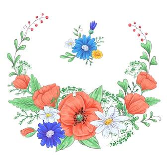 Satz rote mohnblumen und gänseblümchen. handzeichnung. vektor-illustration