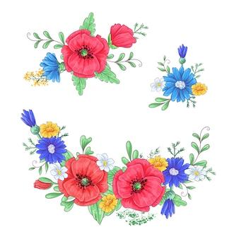 Satz rote mohnblumen und gänseblümchen.