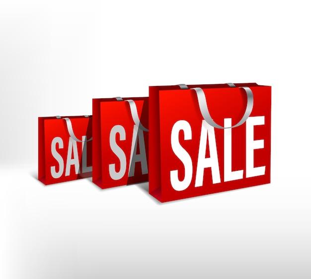 Satz rote papiertüten verkauf unterschiedlicher größe. verpackungsstapel für einkäufe pack für einkäufe mit weißen seilgriffen für design oder text. rabatte verkauf poster